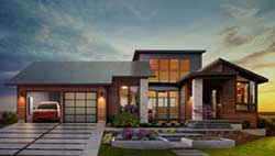 Rendering of home with Tesla solar roof panels