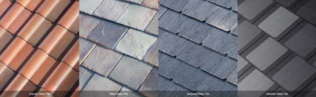 Different styles of Tesla solar roof panels