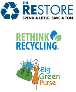 REStore, Rethink Recycling, and Big Green Purse logos