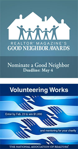 Good Neighbor Award image and Volunteering Works award image