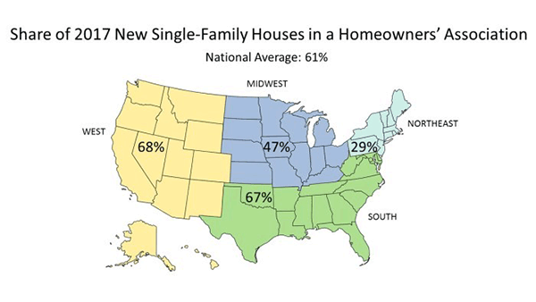 Map - Share of 2017 New Single-Family Houses in a Homeowners' Association