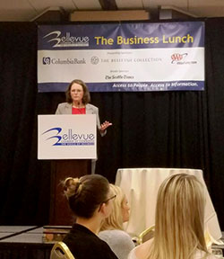 Svneja Gudell at Bellevue Chamber of Commerce meeting